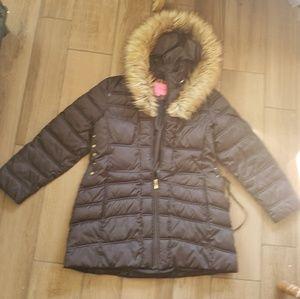 Betsey Johnson black parka fur jacket Down XXL